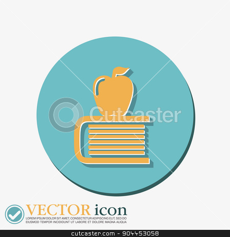 Book with apple icon. Education sign stock vector clipart, Books tower with apple icon. Education sign by LittleCuckoo