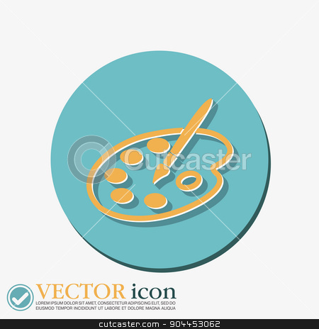 Palette with brush. Symbol of art. Icon painting stock vector clipart, Palette with brush. Symbol of art. Icon painting by LittleCuckoo