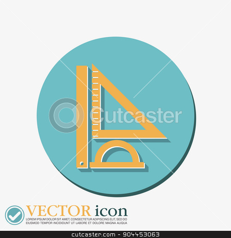 Ruler, protractor, triangle. Symbol of geometry and mathematics.  stock vector clipart, Ruler, protractor, triangle. Symbol of geometry and mathematics. Icon Training and Research by LittleCuckoo