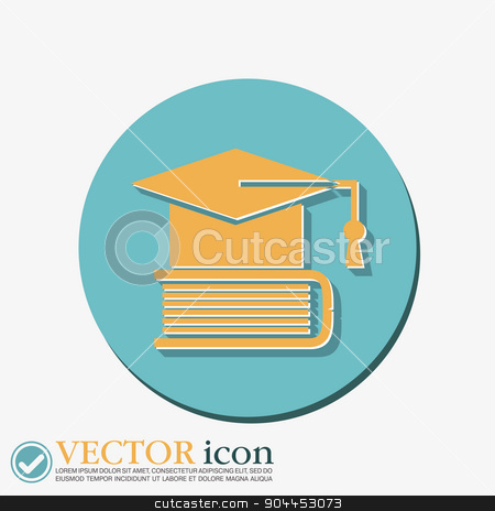 Graduate hat on the book. icon teachings. stock vector clipart, Graduate hat on the book. icon teachings. symbol of knowledge, college or high school by LittleCuckoo