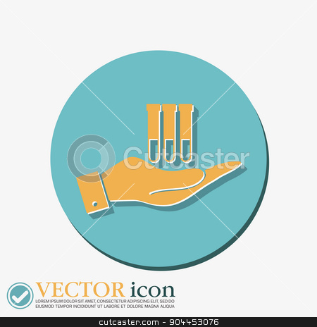 hand holding a bulb or beaker.  stock vector clipart, hand holding a bulb or beaker.  symbol icon of medicine or chemistry . the study of science by LittleCuckoo