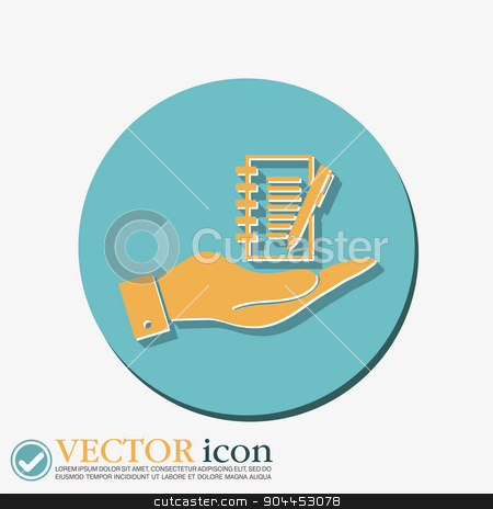 hand holding a sheet of paper with pen stock vector clipart, hand holding a sheet of paper and pen by LittleCuckoo