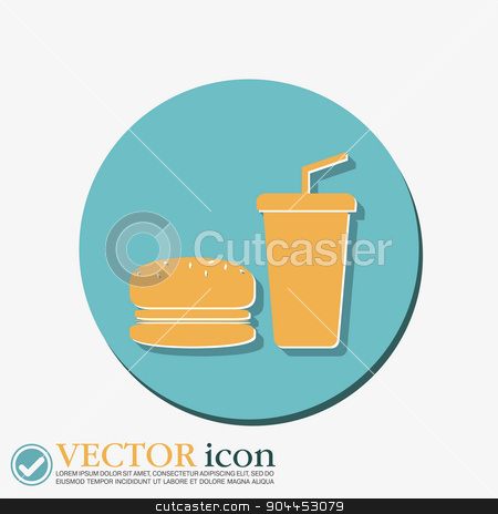 burger and paper cup. symbol of fast food stock vector clipart, burger and paper cup with a drink. symbol of fast food by LittleCuckoo