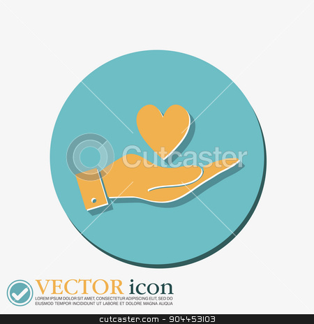 hand holding a heart symbol stock vector clipart, hand holding a heart sign.  valentine icon by LittleCuckoo