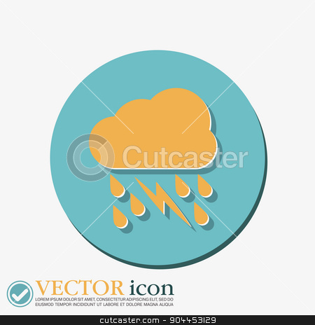 weather icon. cloud rain lightning sign stock vector clipart, weather icon. cloud rain lightning sign by LittleCuckoo