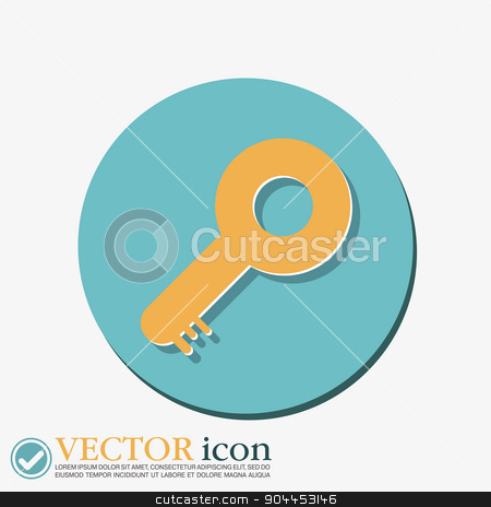 key symbol icon stock vector clipart, key icon sign by LittleCuckoo