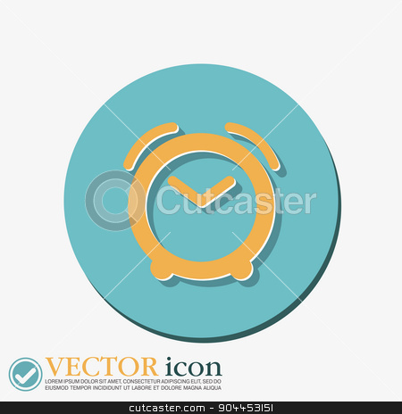 Alarm icon . The clock shows the time stock vector clipart, alarm clock icon. Symbol morning. Alarm icon . The clock shows the time by LittleCuckoo