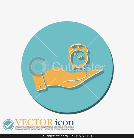 hand holding a Symbol morning. Alarm icon . The clock shows the time stock vector clipart, hand holding a alarm clock sign. Symbol morning. Alarm icon . The clock shows the time by LittleCuckoo