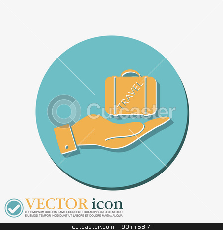 hand holding a symbol of a suitcase for travel. Travel Bag stock vector clipart, hand holding a symbol of a suitcase for travel. Travel Bag by LittleCuckoo