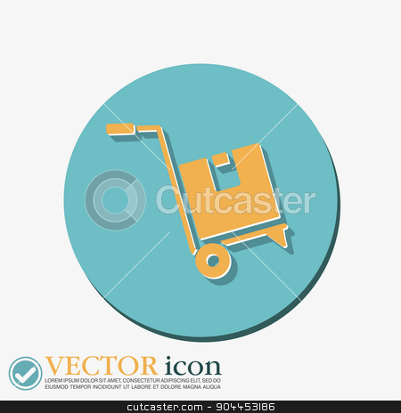 Truck with box. Logistic icon. stock vector clipart, Truck with box. Logistic icon. by LittleCuckoo