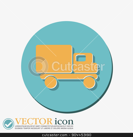 Truck. Logistic icon. symbol icon laden truck. carriage of the goods or things stock vector clipart, Truck. Logistic icon. Transportation symbol. symbol icon laden truck. carriage of the goods or things by LittleCuckoo