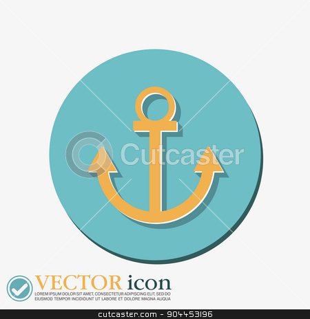 Nautical Anchor vector. anchor seafaring character. icon marine instrument stock vector clipart, Nautical Anchor vector. anchor seafaring character. icon marine instrument by LittleCuckoo