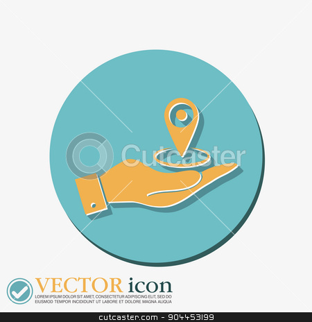 hand holding a pin location on the map stock vector clipart, hand holding a pin location on the map. local pin by LittleCuckoo