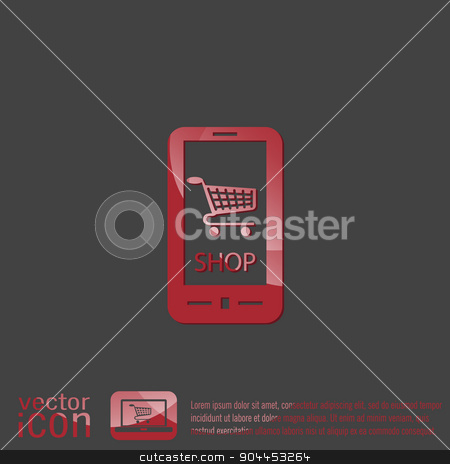 shopping cart online store stock vector clipart, smartphone with the symbol shopping cart  online store by LittleCuckoo