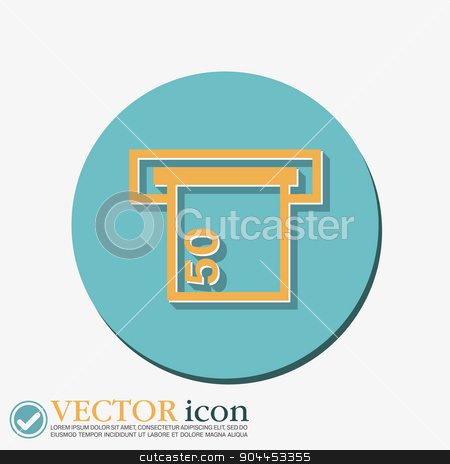 money ATM. symbol issuing or receiving money from an ATM  stock vector clipart, money ATM. symbol issuing or receiving money from an ATM. financial icon. money is given. by LittleCuckoo
