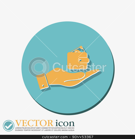 hand holding a purse sign. symbol icon purse and dollar. money in your wallet stock vector clipart, hand holding a purse sign. symbol icon purse and dollar. money in your wallet by LittleCuckoo