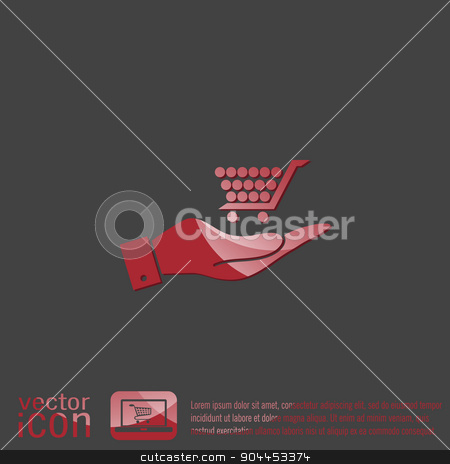 hand holding a shopping cart online store stock vector clipart, hand holding a shopping cart online store, Internet shop. basket shopping by LittleCuckoo