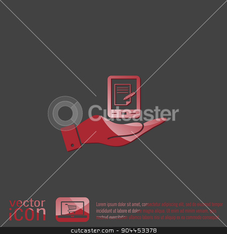 hand holding a tablet pad with sheet of paper. stock vector clipart, hand holding a tablet pad with sheet of paper. by LittleCuckoo