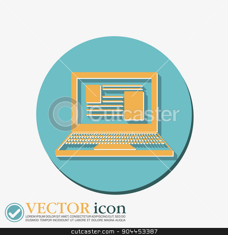 notebook laptop icon. stock vector clipart, notebook laptop icon. web sign by LittleCuckoo