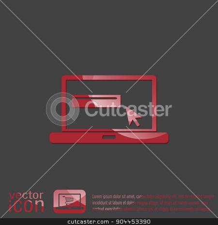 laptop with symbol web arrow stock vector clipart, notebook with symbol web arrow by LittleCuckoo