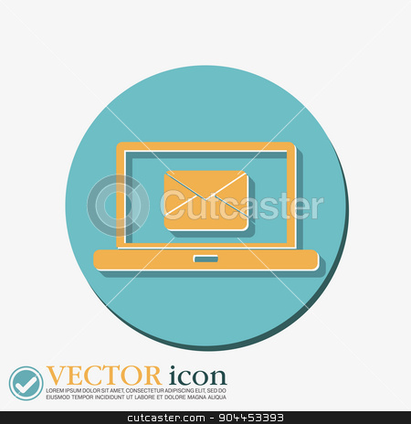 laptop with letter envelope, mail icon stock vector clipart, notebook with symbol a letter envelope, mail icon by LittleCuckoo