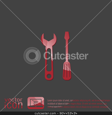 screwdriver and wrench, symbol settings sign stock vector clipart, screwdriver and wrench, symbol settings sign by LittleCuckoo