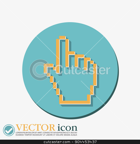 mouse hand cursor stock vector clipart, mouse hand cursor. pixel view by LittleCuckoo