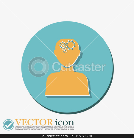 man thinks, the gears in head stock vector clipart, man thinks, the gears in head by LittleCuckoo