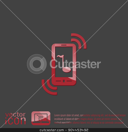 telephone handset. stock vector clipart, smartphone with the symbol telephone handset. by LittleCuckoo