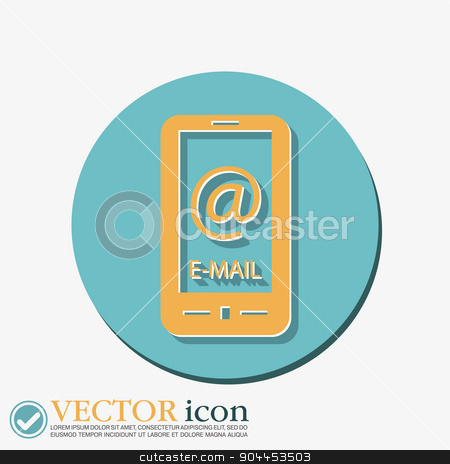 smartphone with the symbol mail stock vector clipart, smartphone with the symbol mail. by LittleCuckoo