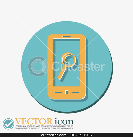 smartphone, magnifying glass. stock vector clipart, smartphone with the symbol magnifying glass. search sign by LittleCuckoo