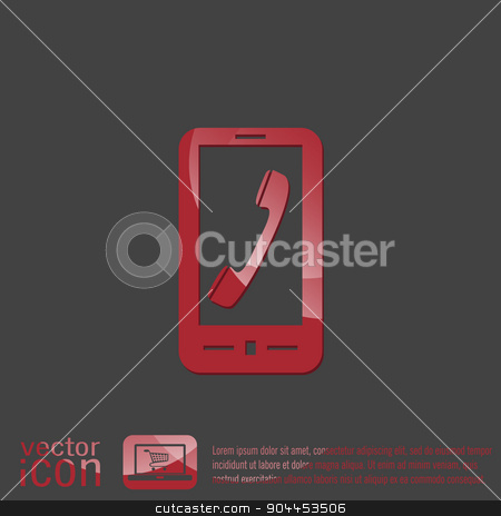 smartphone with the symbol telephone handset stock vector clipart, smartphone with the symbol telephone handset by LittleCuckoo