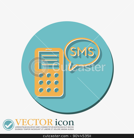 smartphone with cloud of sms dialogue. stock vector clipart, smartphone with the symbol of cloud of sms dialogue by LittleCuckoo