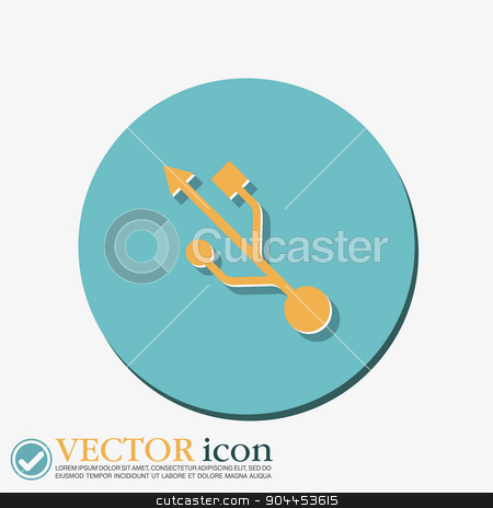 USB symbol, vector. usb icon. computer sign stock vector clipart, USB symbol, vector. usb icon. computer sign by LittleCuckoo