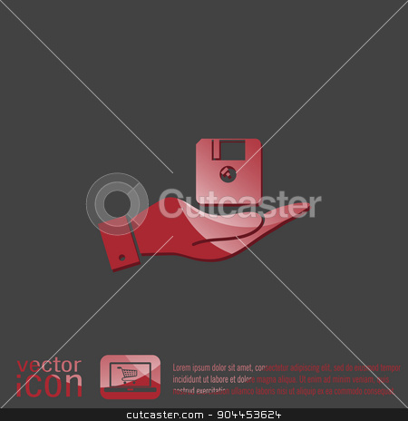 hand holding a floppy, diskette. symbol store information document. computer floppy disk icon . stock vector clipart, hand holding a floppy, diskette. symbol store information document. computer floppy disk icon . by LittleCuckoo