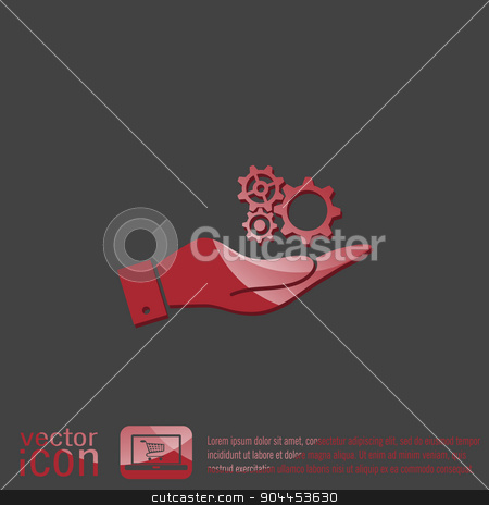 hand holding a cogwheel, icon setting and repair  stock vector clipart, hand holding a cogwheel, icon setting and repair by LittleCuckoo