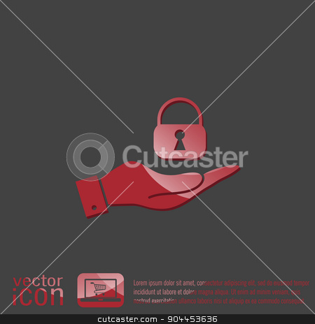 hand holding a padlock stock vector clipart, hand holding a padlock symbol by LittleCuckoo