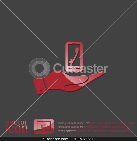 hand holding a smartphone with the symbol telephone handset stock vector clipart, hand holding a smartphone with the symbol telephone handset by LittleCuckoo