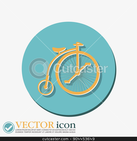 retro bicycle icon stock vector clipart, retro bicycle icon by LittleCuckoo