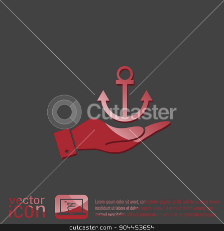 hand holding a Nautical Anchor vector. anchor seafaring character. icon marine instrument stock vector clipart, hand holding a Nautical Anchor vector. anchor seafaring character. icon marine instrument by LittleCuckoo