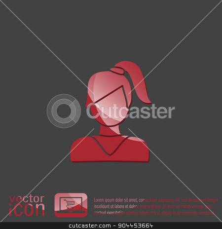 A female avatar. girl with hair tail. Avatar of a woman with long hair and bangs stock vector clipart, A female avatar. girl with hair tail. Avatar of a woman with long hair and bangs by LittleCuckoo