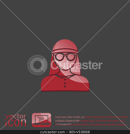 A female avatar. Avatar of a woman. Round icon image girl in glasses and a hat stock vector clipart, A female avatar. Avatar of a woman. Round icon image girl in glasses and a hat by LittleCuckoo