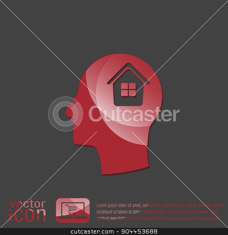 Vector Icon head think silhoutte vector man and his mind about  House icon. Home sign stock vector clipart, Vector Icon head think silhoutte vector man and his mind about  House icon. Home sign by LittleCuckoo