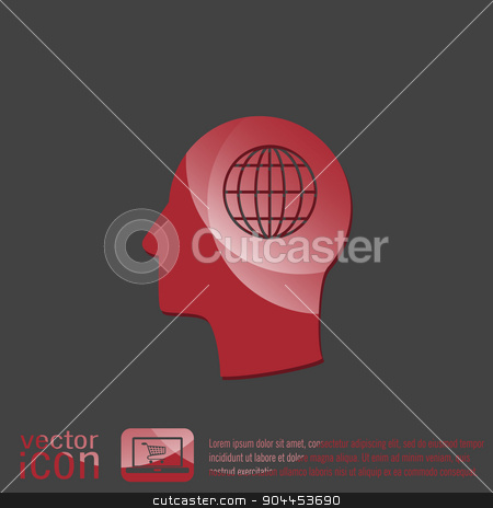 Vector Icon head think silhoutte vector man and his mind about  globe symbol. news. Symbol news. Icon globe planet stock vector clipart, Vector Icon head think silhoutte vector man and his mind about  globe symbol. news. Symbol news. Icon globe planet by LittleCuckoo