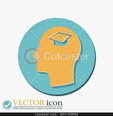 Vector Icon head think silhoutte vector man and his mind about  graduate hat. Education sign. symbol icon college or institute. graduation stock vector clipart, Vector Icon head think silhoutte vector man and his mind about  graduate hat sign. Education sign. symbol icon college or institute. graduation by LittleCuckoo