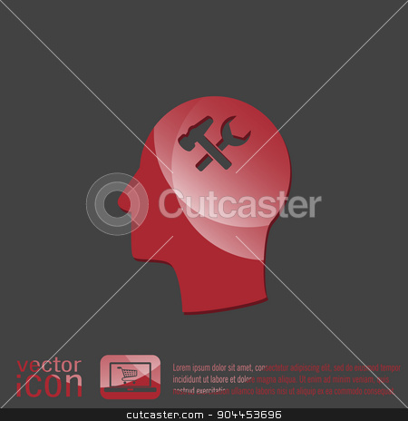 Vector Icon head think silhoutte vector man and his mind about  symbol settings. hammer and wrench stock vector clipart, Vector Icon head think silhoutte vector man and his mind about  symbol settings sign, hammer and wrench by LittleCuckoo
