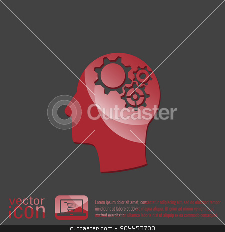 Vector Icon head think silhoutte vector man and his mind about  symbol settings. cogwheel, icon setting and repair stock vector clipart, symbol settings. cogwheel, icon setting and repair by LittleCuckoo