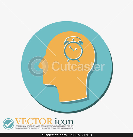 Vector Icon head think silhoutte vector man and his mind about  Symbol morning. Alarm icon . The clock shows the time stock vector clipart, Vector Icon head think silhoutte vector man and his mind about alarm clock sign. Symbol morning. Alarm icon . The clock shows the time by LittleCuckoo