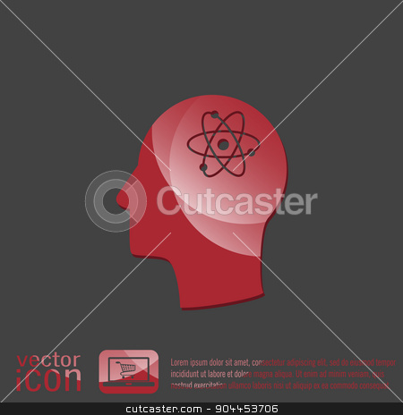 Vector Icon head think silhoutte vector man and his mind about the atom, molecule. symbol icon of physics or chemistry . the study of science stock vector clipart, Vector Icon head think silhoutte vector man and his mind about the atom, molecule. the symbol of physics and chemistry. symbol icon of physics or chemistry . the study of science by LittleCuckoo