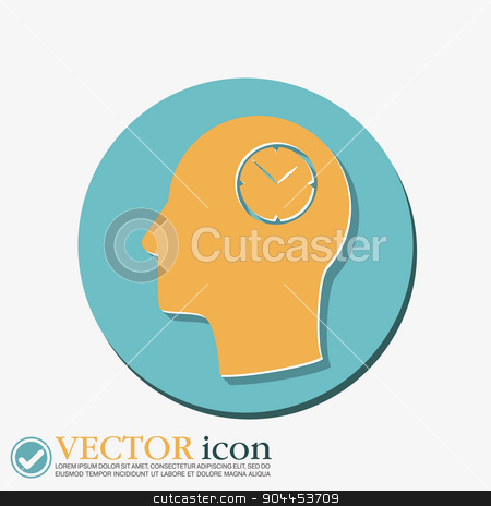 Vector Icon head think silhoutte vector man and his mind about clock, Icon watch. symbol time stock vector clipart, Vector Icon head think silhoutte vector man and his mind about clock. watch sign, Icon watch. symbol time by LittleCuckoo